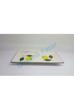 6 Adet Seramik Limon Desen Kayık Tabak Tabağı 29 x 15 cm
