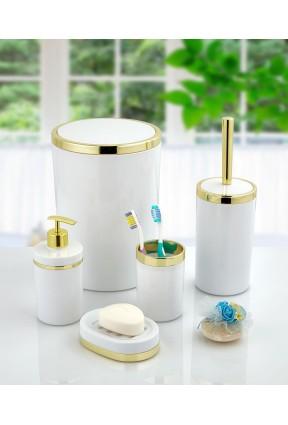 Akrilik Gold Çizgi 5'li Beyaz Banyo Seti Yuvarlak Banyo Takımı