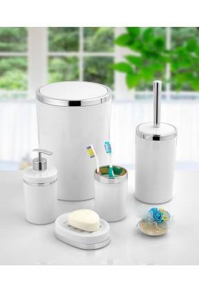 Akrilik Gümüş Çizgi 5'li Beyaz Banyo Seti Yuvarlak Banyo Takımı