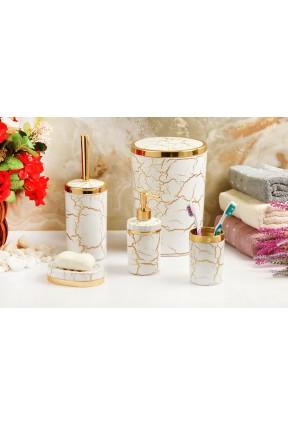 Akrilik Gold Mermer 5'li Beyaz Banyo Seti Yuvarlak Banyo Takımı