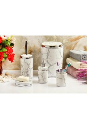 Akrilik Gümüş Mermer 5'li Beyaz Banyo Seti Yuvarlak Banyo Takımı