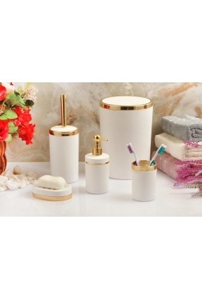 Akrilik Gold 5'li Beyaz Soft Banyo Seti Yuvarlak Banyo Takımı