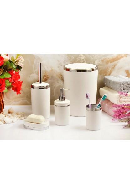 Akrilik Gümüş 5'li Beyaz Soft Banyo Seti Yuvarlak Banyo Takımı