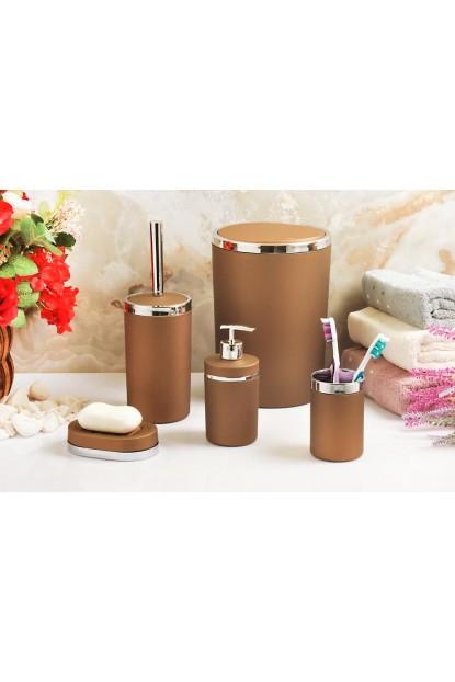 Akrilik Gümüş 5'li Kahve Soft Banyo Seti Yuvarlak Banyo Takımı