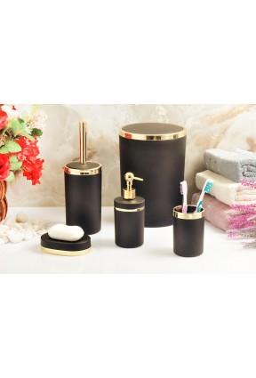 Akrilik Gold 5'li Siyah Soft Banyo Seti Yuvarlak Banyo Takımı