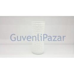 Beyaz Cam Kabartma Nokta Desen Dekoratif Çiçeklik & Vazo