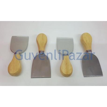 4'lü Paslanmaz Çelik Ahşap Saplı Peynir Kesme Dilimleme Spatula
