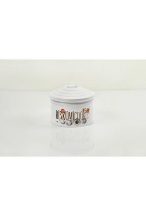 Metal Dekoratif Beyaz Kapaklı Bisküvi Kurabiye Saklama Kutusu